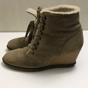J Crew Italy Wedge Boots Suede Winter